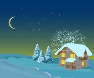 Τοπίο χειμερινών Χριστουγέννων, απεικονίσεις Στοκ Φωτογραφίες