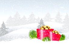 Τοπίο χειμερινών Χριστουγέννων Στοκ Εικόνες