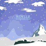 Τοπίο χειμερινών χωρών των θαυμάτων Εποχή Χριστουγέννων απεικόνιση αποθεμάτων
