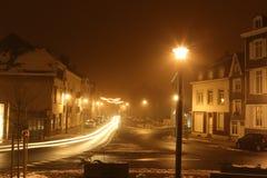Τοπίο χιονιού τή νύχτα Στοκ Εικόνα