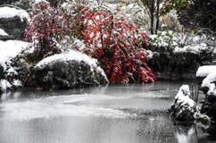 Τοπίο χιονιού των αρχαίων κινεζικών κήπων Στοκ φωτογραφία με δικαίωμα ελεύθερης χρήσης