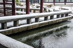 Τοπίο χιονιού των αρχαίων κινεζικών κήπων Στοκ Φωτογραφίες