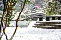 Τοπίο χιονιού των αρχαίων κινεζικών κήπων Στοκ εικόνα με δικαίωμα ελεύθερης χρήσης