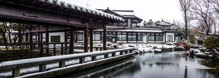 Τοπίο χιονιού των αρχαίων κινεζικών κήπων Στοκ Φωτογραφία
