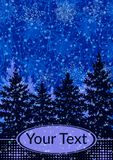 Τοπίο Χριστουγέννων, δέντρα του FIR Στοκ Εικόνα