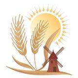 Τοπίο χώρας, ένας μύλος, κάποιος σίτος και ο ήλιος - λογότυπο Στοκ φωτογραφία με δικαίωμα ελεύθερης χρήσης