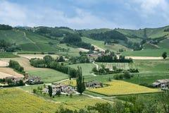 Τοπίο χώρας από Castell ` Arquato Piacenza, Ιταλία Στοκ εικόνες με δικαίωμα ελεύθερης χρήσης