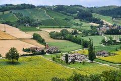 Τοπίο χώρας από Castell ` Arquato Piacenza, Ιταλία Στοκ Φωτογραφίες