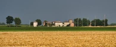 Τοπίο χώρας κοντά σε Fiorenzuola Piacenza, Ιταλία Στοκ Φωτογραφία
