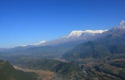 Τοπίο Annapurna Pokhara Νεπάλ βουνών του Ιμαλαίαυ Machhapuchhre Στοκ Εικόνες