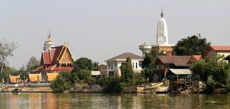Τοπίο Ayuthaya με τους ναούς Στοκ Φωτογραφίες