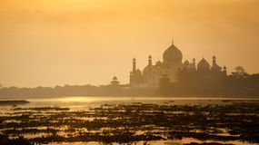 Τοπίο Mahal Taj κατά τη διάρκεια της ανατολής σε Agra, Ουτάρ Πραντές, Ινδία Στοκ Φωτογραφία