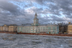 Τοπίο Nevsky με το Kunstkamera Στοκ Φωτογραφίες