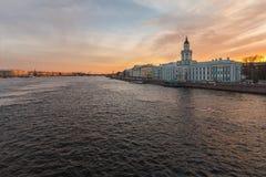 Τοπίο Nevsky με το Kunstkamera Στοκ εικόνες με δικαίωμα ελεύθερης χρήσης