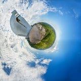Τοπίο Panoramatic κατά την αφηρημένη άποψη 360 πλανητών όπως τη γη Στοκ Εικόνες