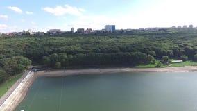Τοπίο Stavropol με τους λόφους και τη λίμνη Ρωσία απόθεμα βίντεο