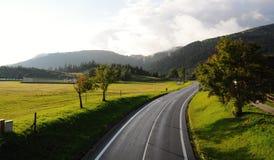 Τοπίο Tatra βουνών με τα πράσινα δασικά, μπλε σύννεφα και το λιβάδι Δρόμος στη μέση Στοκ εικόνα με δικαίωμα ελεύθερης χρήσης