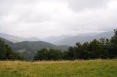Τοπίο Tatra βουνών με τα πράσινα δασικά, μπλε σύννεφα και το λιβάδι Στοκ εικόνες με δικαίωμα ελεύθερης χρήσης