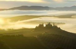 τοπίο tuscan Όμορφο Tuscan πρωί Στοκ Εικόνα