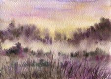 Τοπίο Watercolor με την υδρονέφωση Στοκ εικόνες με δικαίωμα ελεύθερης χρήσης