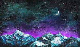 Τοπίο Watercolor με τον έναστρους νυχτερινό ουρανό, το φεγγάρι και τα βουνά Στοκ εικόνα με δικαίωμα ελεύθερης χρήσης