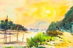 Τοπίο Watercolor που χρωματίζει το κίτρινο, πορτοκαλί χρώμα του ηλιοβασιλέματος Στοκ φωτογραφία με δικαίωμα ελεύθερης χρήσης