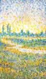 Τοπίο Watercolor στο ύφος του pointillism Στοκ Φωτογραφία