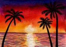 Τοπίο Watercolor της θάλασσας ή του ωκεανού και φοίνικες στο ηλιοβασίλεμα στοκ εικόνες