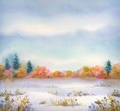 Τοπίο Watercolor της σειράς στέπας στις διαφορετικές εποχές Στοκ Φωτογραφία