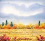 Τοπίο Watercolor της σειράς Στοκ Εικόνα