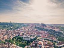 Τοπική εικονική παράσταση πόλης της Πράγας Mala Strana και Prague's Castle Στοκ Εικόνες