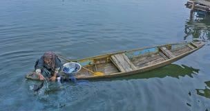 Τοπική ζωή στη λίμνη DAL, Κασμίρ, Ινδία Στοκ Φωτογραφίες
