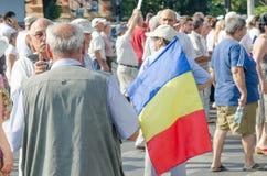 Τοπική διαμαρτυρία των οπαδών ενός τοπικού προγράμματος Antena 3 TV ειδήσεων Στοκ Εικόνες