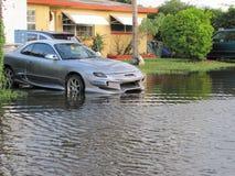 Τοπική πλημμύρα - έξυπνο αυτοκίνητο Στοκ Φωτογραφία
