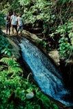 τοπικοί χωρικοί που στέκονται στην κορυφή ενός μικρού καταρράκτη τροπικών δασών ζουγκλών στο μακρινό τροπικό νοτιοειρηνικό νησί π στοκ εικόνες με δικαίωμα ελεύθερης χρήσης