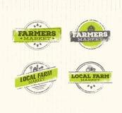 Τοπικό αγροτικό λογότυπο, τοπική έννοια αγροτικών τροφίμων, τοπικό στοιχείο σχεδίου αγροτικών δημιουργικό διανυσματικό, τοπικό αγ διανυσματική απεικόνιση