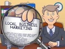 Τοπικό επιχειρησιακό μάρκετινγκ μέσω Magnifier Ύφος Doodle ελεύθερη απεικόνιση δικαιώματος