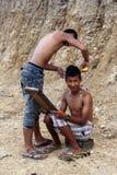 Τοπικό κούρεμα υπαίθρια στο κράτος πηγουνιών, το Μιανμάρ Στοκ Εικόνες