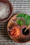 Τοπικό πρόχειρο φαγητό Kriab Yana Khao της απαγόρευσης Nam Chiao, Trat, στρεπτόκοκκος της Ταϊλάνδης στοκ φωτογραφία με δικαίωμα ελεύθερης χρήσης