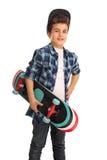 Τοποθέτηση αγοριών σκέιτερ με skateboard Στοκ φωτογραφίες με δικαίωμα ελεύθερης χρήσης