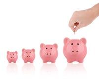 Τοποθέτηση ενός ευρο- νομίσματος στη piggy έννοια αποταμίευσης τραπεζών αυξανόμενη Στοκ εικόνες με δικαίωμα ελεύθερης χρήσης