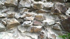 Τοποθέτηση της άγριας πέτρας, σύσταση του άγριου τοίχου πετρών 4K βίντεο απόθεμα βίντεο