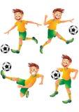 Τοποθέτηση χαρακτήρα κινουμένων σχεδίων ποδοσφαιριστών της Βραζιλίας Στοκ Εικόνες