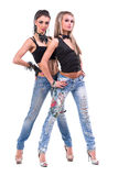 Τοποθέτηση δύο προκλητική κοριτσιών, που απομονώνεται πέρα από το λευκό Στοκ Εικόνες