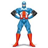 Τοποθέτηση Superhero που απομονώνεται στο άσπρο υπόβαθρο Στοκ Φωτογραφίες