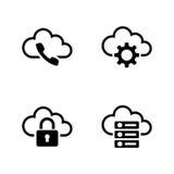 Τοποθετήσεις σύννεφων Απλά σχετικά διανυσματικά εικονίδια Στοκ εικόνες με δικαίωμα ελεύθερης χρήσης