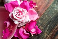 Τοποθετήσεις SPA με τα τριαντάφυλλα Τα φρέσκα τριαντάφυλλα και αυξήθηκαν πέταλα σε ένα κύπελλο του νερού και των διάφορων στοιχεί Στοκ Φωτογραφία