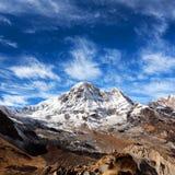 Τοποθετήστε την άποψη Annapurna από το στρατόπεδο βάσεων Annapurna στο Νεπάλ Ιμαλάια Στοκ Εικόνες