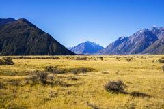 Τοποθετήστε τις κοιλάδες Tasman, Aoraki νότιο όρος πάρκων ΑΜ Cook εθνικό Στοκ Φωτογραφία