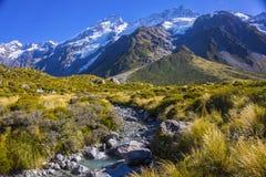 Τοποθετήστε τις κοιλάδες Tasman, Aoraki νότιο όρος πάρκων ΑΜ Cook εθνικό Στοκ Φωτογραφίες
